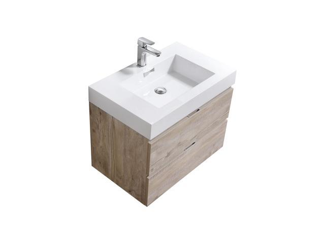 . Enova Home 30 Inch Natural Wood Wall Mount Modern Bathroom Vanity With  Acrylic Countertop   Newegg com