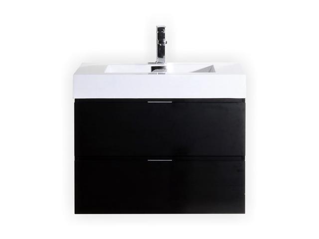 Enova Home 36 Inch Black Wall Mount Modern Bathroom Vanity With Acrylic Countertop Newegg Com