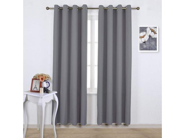 Blackout Curtains Panels for Bedroom Noise Reducing Thermal Insulated Solid  Ring Top Blackout Window Drapes (Two Panels, 52 x 84 Inch, Gray) - ...