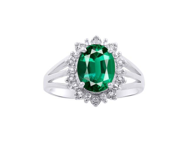 Princess Diana Inspired Halo Diamond Emerald Ring Set In