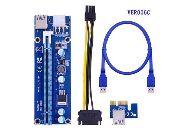 WinnerEco 10pcs PCI-E1X to 16X Extender Riser Card 6Pin DC-DC USB3.0 Cable for Mining USB Extension Cable