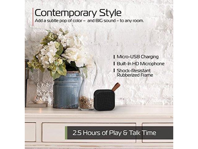 Square Mini Waterproof Bluetooth Fabric Speaker Studio Series Speaker by Tzumi Grey Add Powerful Sound and Ambiance to Any Room