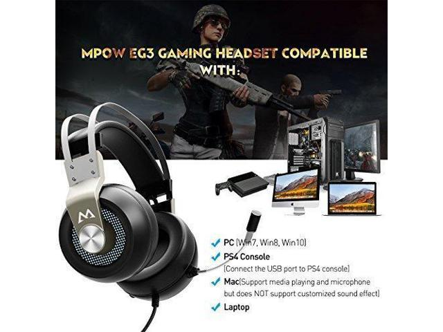 Mpow EG3 Stereo Gaming Headset, 7 1 Surround Sound Audio, Noise Cancelling  Over Ear Headphones with Mic, Soft Memory Earmuffs, LED Light, Lightweight
