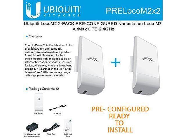 Ubiquiti LocoM2 2-PACK PRE-CONFIGURED Nanostation Loco M2 AirMax CPE 2 4GHz  - Newegg com