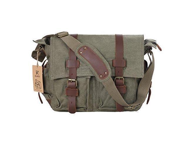 Kattee Canvas Cow Leather DSLR SLR Vintage Camera Shoulder Messenger Bag