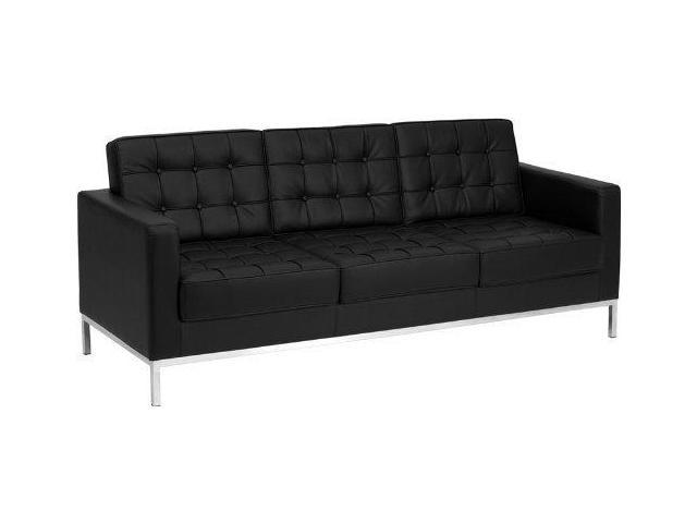 Flash Furniture HERCULES Lacey Series Contemporary Black Leather Sofa with  Stainless Steel Frame
