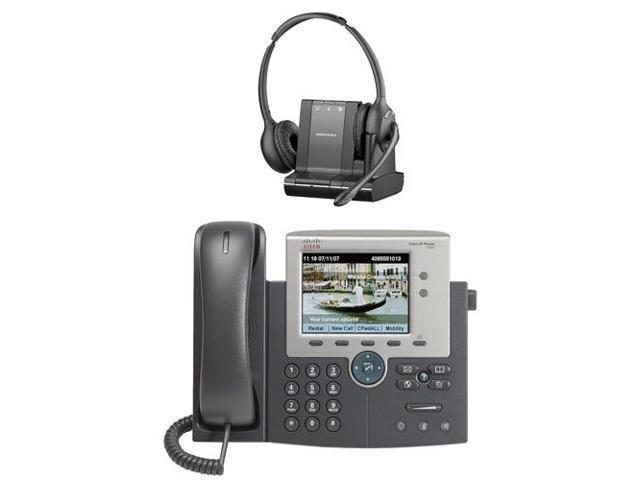 Plantronics Over The Head Monaural Wireless Headset System Cs510 Cisco 7945g Unified Ip Phone Combo Newegg Com