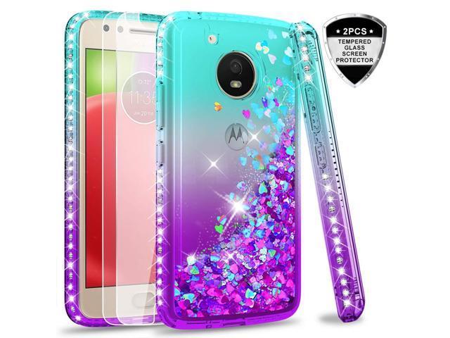 super popular e3b50 36014 Moto E4 Case (USA Version) (Not Fit E4 Plus) Tempered Glass Screen  Protector [2 Pack] Girls,LeYi Glitter Diamond Liquid Protective Phone Case  Motorola ...