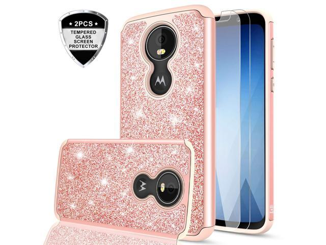 pretty nice 84d90 2bf4d Moto G6 Play Case (Not fit Moto G6) with Tempered Glass Screen Protector  for Girls Women,LeYi Glitter Bling Dual Layer Hybrid Shockproof Protective  ...