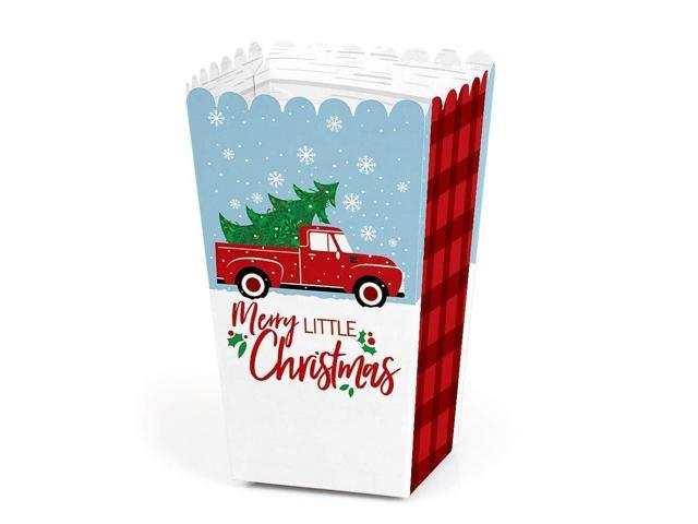 Merry Little Christmas Tree Red Truck Christmas Party Favor Popcorn Treat Boxes Set Of 12 Newegg Ca