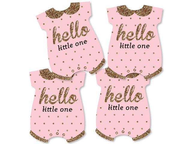 Hello Little One Pink And Gold Baby Bodysuit Girl Baby Shower Decorations Diy Party Essentials Set Of 20