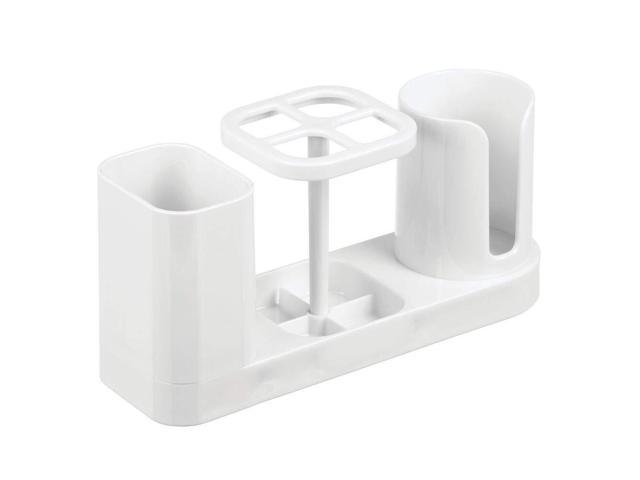 White Compact Design mDesign Plastic Bathroom Vanity Countertop Dental Storage Organizer Holder Stand for Electric Spin Toothbrushes//Toothpaste with Compartment for Rinse Cups