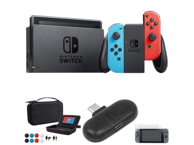 Nintendo Switch 32 GB Console w/Neon Blue and Red Joy-Con (HACSKABAA)  Switch USB Type-C Bluetooth Audio Transmitter + Charging Case for Switch  with