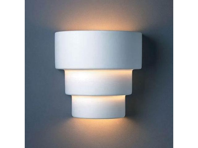 Justice Design Group Lighting Cer 2225 Bis Wall Sconce With Ceramic Bisque Shades White Newegg