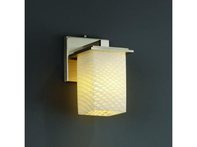 Justice Design Group Lighting Fsn 8671 15 Opal Nckl Square With Flat Rim Shade Light Wall Sconce Brushed Nickel Newegg