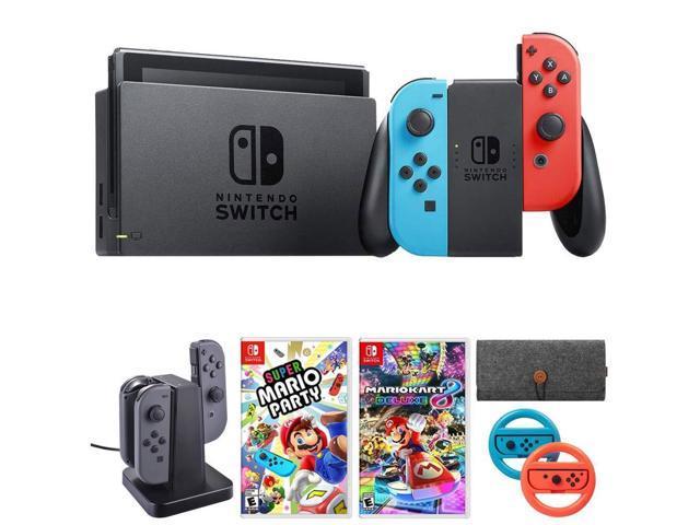 Nintendo Switch 32 Gb Console W Neon Blue And Red Joy Con Hacskabaa Gaming Accessories Bundle Includes Mario Kart 8 Deluxe Super Mario Party