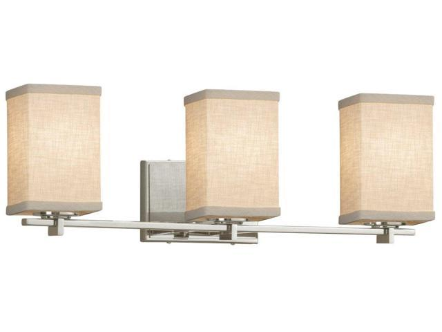 Archway 2-Light Bath Bar LED Dark Bronze White Justice Design Group Lighting FAB-8592-15-WHTE-DBRZ-LED2-1400 Textile Square with Flat Rim Shade