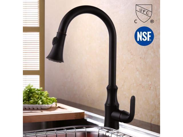 KES cUPC NSF Certified Brass Singel Lever High Arc Pull Down Kitchen Faucet  with Retractable Pull Out Wand Swivel Spout, Oil Rubbed Bronze, ...