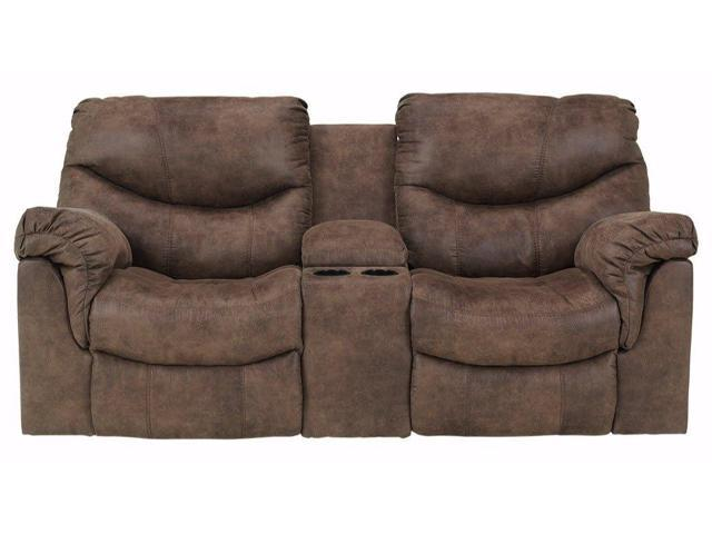 Stupendous Ashley Furniture Signature Design Alzena Recliner Loveseat With Console Manual Reclining Couch Gunsmoke Brown Newegg Com Download Free Architecture Designs Xerocsunscenecom