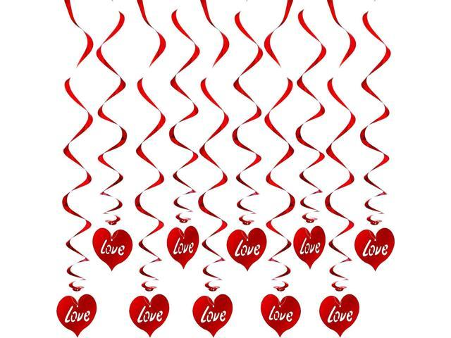 24 x Valentines Day Hanging Heart Swirl Decorations
