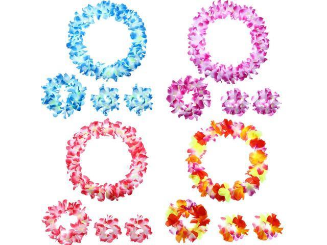 Tropical Flower Set Headband Lei Wristbands Luau Party Favor Costume Accessory
