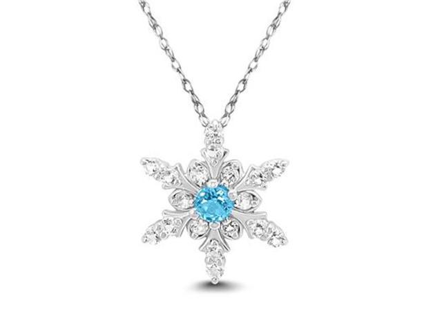 70ee8f4ae1434a Sterling Silver Snowflake with a 4mm Round Swiss Blue Center and White Topaz  on the Side