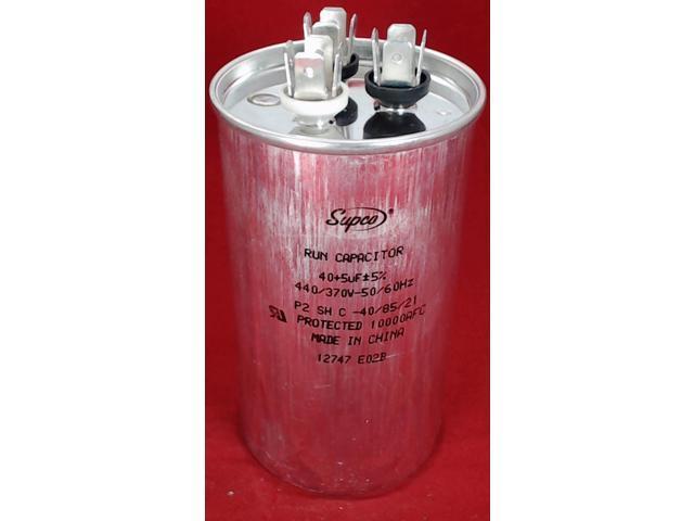 Dual Run Capacitor, Round, 40 + 5 Mfd , 440 Volt, CD40+5X440R - Newegg com