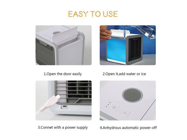Gimify Portable Air Conditioner 5 in 1 Air Cooler Mini Humidifier Purifier For Office and Home 3 Speeds 7 Colors LED USB