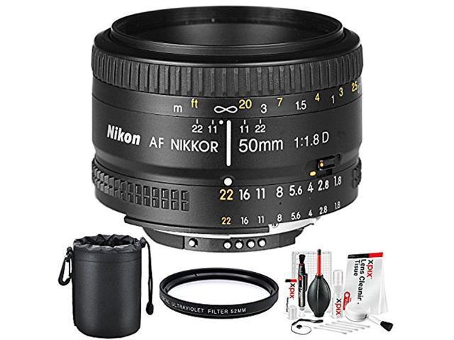 9494c8ec26d1 Nikon AF NIKKOR 50mm f/1.8D Prime Lens and Basic Accessory Bundle w/ Water  Resistant Lens Pouch + UV Filter + Xpix Deluxe Camera Cleaning Kit - ...