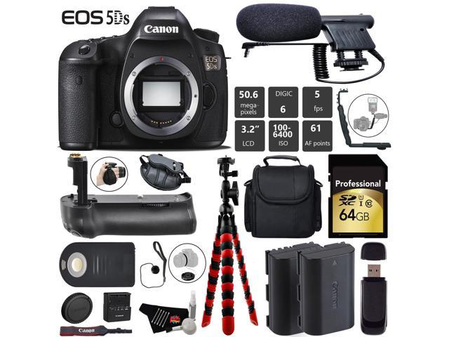 4fa1a3d90599 Canon EOS 5DS R DSLR Camera (Body Only) + Professional Battery Grip +  Condenser Microphone + Extra Battery + Case + 64GB Memory Card + Tripod +  Card ...
