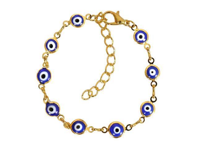 Evil Eye Protection Amulet Royal Blue Eye Beads Gold-Tone Lucky Charms  Bracelet - Newegg com