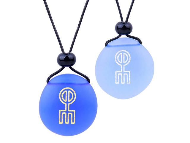 Frosted Sea Glass Stones Adorable Magic Turtle Love Couples BFF Set Amulets Royal Blue Red Necklaces