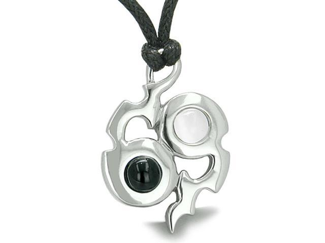 Yin Yang Magic Balance Amulet Crystals Simulated Onyx White Simulated Cats Eye Pendant 22 inch Necklace