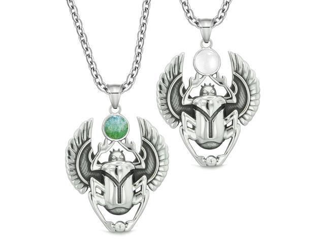 BestAmulets Amulet Egyptian Scarab Rebirth Spiritual Life Magic Powers Tiger Eye Pendant Leather Necklace