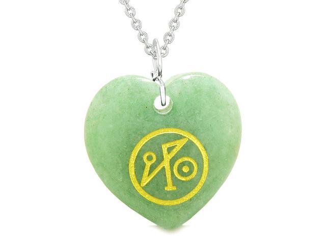 Archangel Michael Sigil Magic Amulet Planet Energy Puffy Heart Green Quartz  Pendant 22 inch Necklace - Newegg com