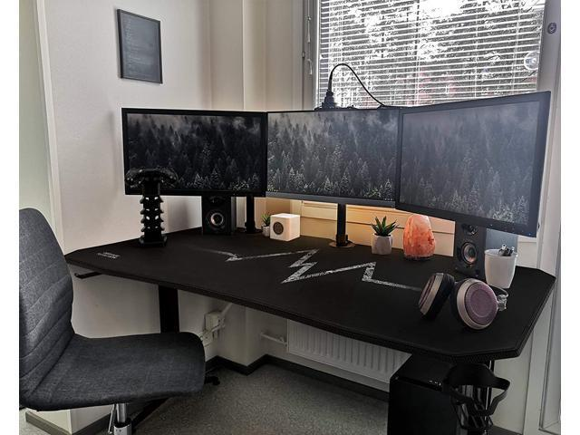 Furmax 55 Inch Gaming Desk Racing Style Pc Computer Desk T Shaped Frame Table Home Office Desk With Large Carbon Fiber Surface Free Mouse Pad Headphone Hook Gaming Handle Rack And Cup Holder