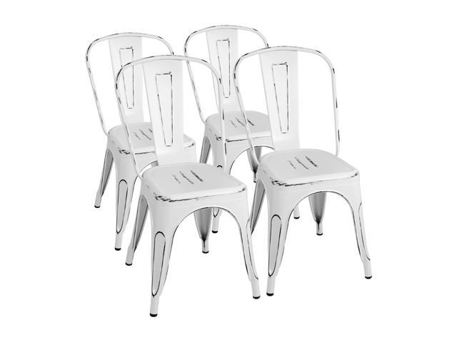 Pleasant Furmax Dining Kitchen Chair Metal Chair Distressed Style Dream White Indoor Outdoor Use Stackable Chic Dining Bistro Cafe Side Chairs Set Of 4 Uwap Interior Chair Design Uwaporg