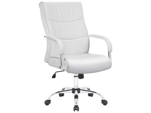 Furmax High Back Office Desk Chair Conference Leather Executive With Padded Armrests Adjule Ergonomic Swivel Task Lumbar Support White