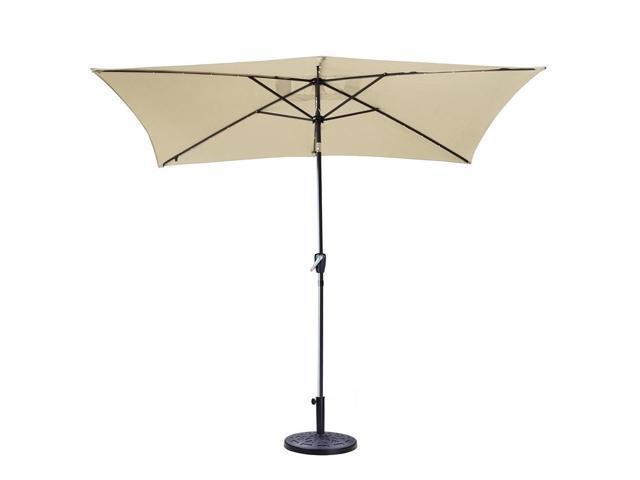 Ghp 10 X6 5 Beige 6 Rib Crank Tilt Patio Umbrella With Base Stand 20 Led Lights
