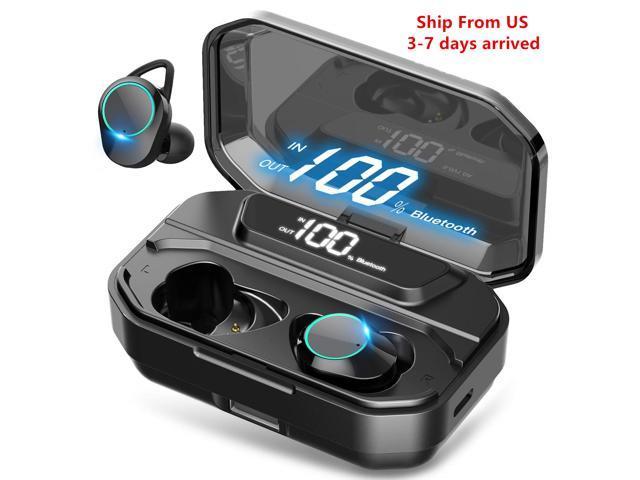 Wireless Earbuds Nurbenn Bluetooth 5 0 Headphones True Wireless Ear Buds Ipx7 Waterproof Dual Built In Mic Earphones With 4000mah Charging Case For 120h Extended Playtime Newegg Com
