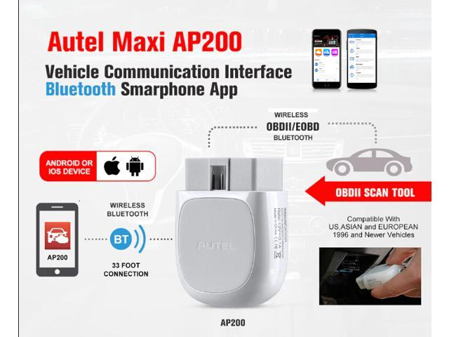 Autel MaxiAP AP200M OBD2 Scanner Bluetooth Full OBD2 Function OE-Level All-System Diagnoses Oil//SAS//BMS//EPB//DPF//Throttle Reset Functions Auto OBDII Diagnostic Scan Tool for iOS and Android