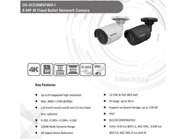 Hikvision Black DS-2CD2085FWD-I 8MP IP Security Camera H 265 WDR IR PoE  Bullet Network 2 8mm - Newegg com
