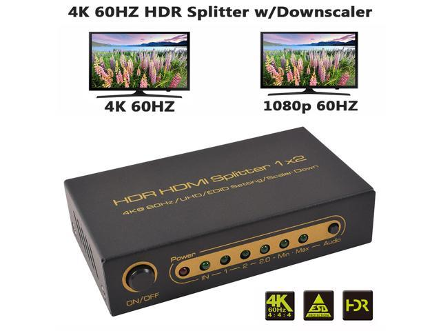 XOLORspace S102 1 in 2 out 4K 60hz HDR HDMI splitter with downscaler  outputs to 4k 60hz and 1080p 60HZ simultaneously, 2 port HDMI splitter HDCP  2 2