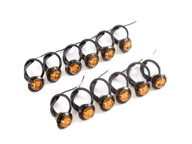 12 3//4 Inches Amber /& Red LED Clearance Side Marker Lights Truck Trailer Pickup Flush