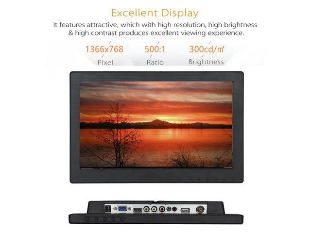 Nexanic 12 inch Monitor TFT HD 1366x768 with Video Audio AV VGA BNC USB  HDMI 11 6 inch Display for CCTV Camera PC DVD Laptop - Newegg com