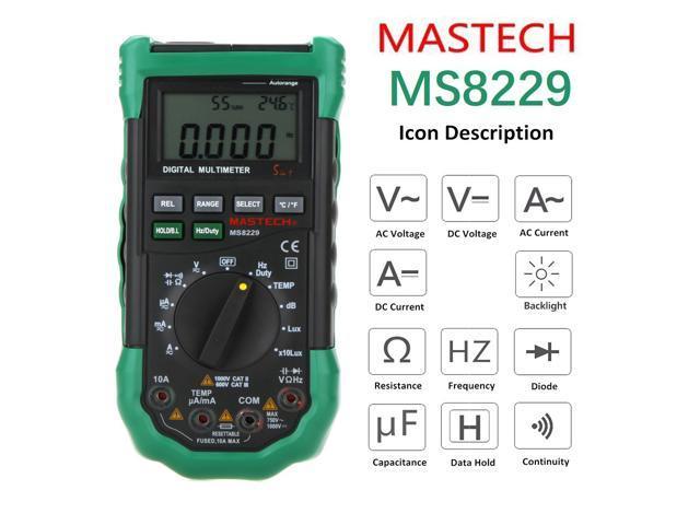 Mastech MS8229 Multimeter 5 in 1 Digital Multimeter Auto Range Electrical  Measure Tool Current Resistance Capacitance Tester MS8229 - Newegg com