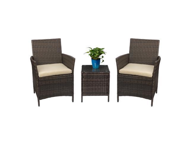 Devoko Patio Porch Furniture Set 3, 3 Piece Wicker Patio Furniture Set