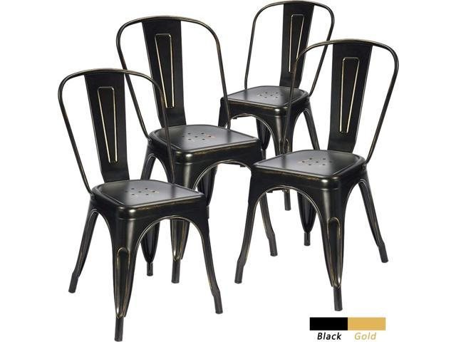 Remarkable Devoko Metal Indoor Outdoor Chairs Distressed Tolix Metal Chair Black And Antique Gold Stackable Dining Chairs Modern Style Chair Set Of 4 Black Theyellowbook Wood Chair Design Ideas Theyellowbookinfo