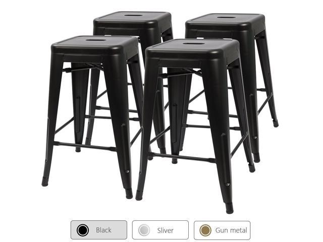 Miraculous Devoko Metal Bar Stools 24 Indoor Outdoor Stackable Barstools Modern Style Industrial Vintage Gun Counter Bar Stools Set Of 4 Black Machost Co Dining Chair Design Ideas Machostcouk