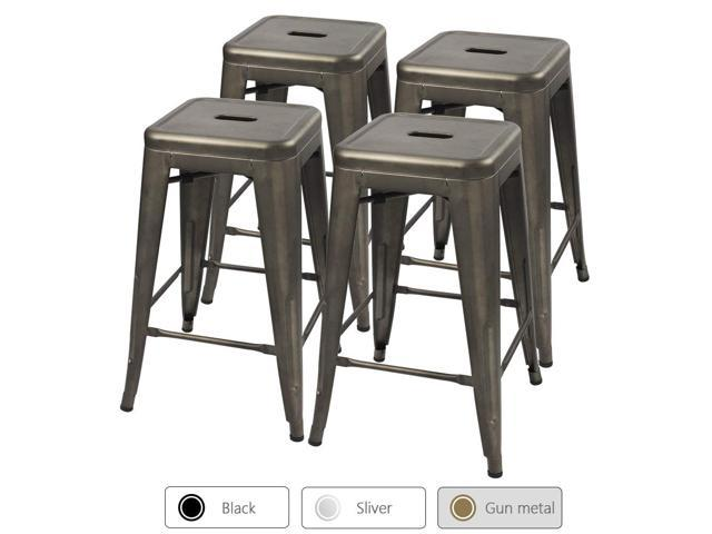 Outstanding Devoko Metal Bar Stools 24 Indoor Outdoor Stackable Barstools Modern Style Industrial Vintage Gun Counter Bar Stools Set Of 4 Gun Ibusinesslaw Wood Chair Design Ideas Ibusinesslaworg